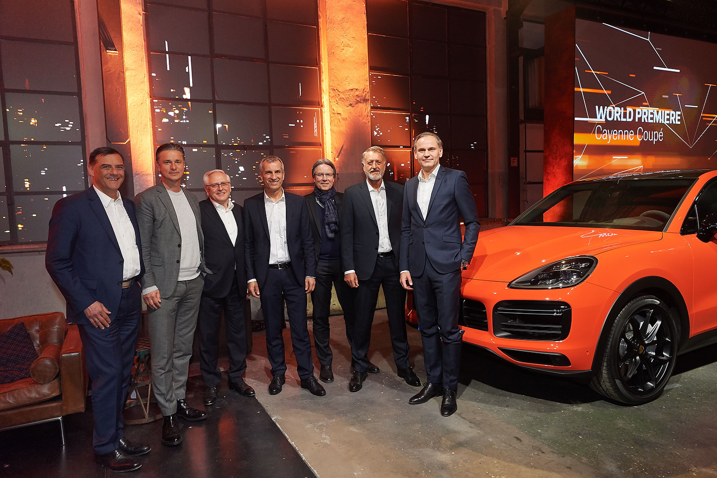 World premiere of the 2020 Porsche Cayenne CoupŽ in Stuttgart: Michael Steiner, Member of the Executive Board, Research and Development; Lutz Meschke, Member of the Executive Board, Finance and IT; Uwe-Karsten StŠdter, Member of the Executive Board, Procurement; Albrecht Reimold, Member of the Executive Board, Production and Logistics; Andreas Haffner, Member of the Executive Board, Human Resources and Social Affairs; Detlev von Platen, Member of the Executive Board, Sales and Marketing; Oliver Blume, Chairman of the Executive Board of Porsche AG (l-r)